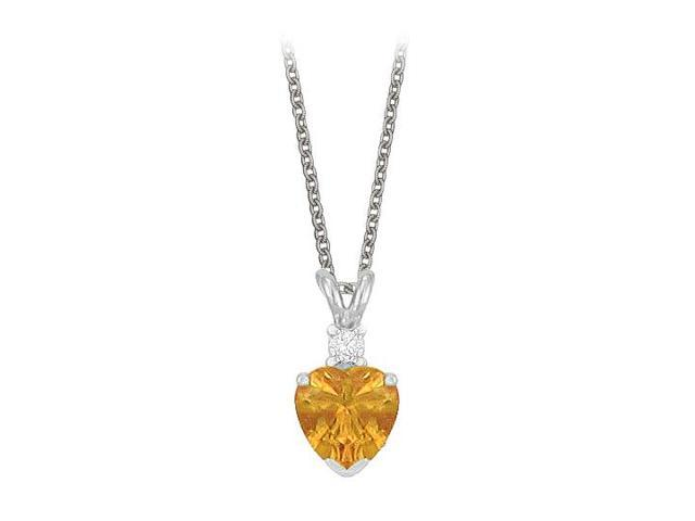 Heart Shaped Citrine and Cubic Zirconia Pendant Necklace in Sterling Silver.1.02ct.tw