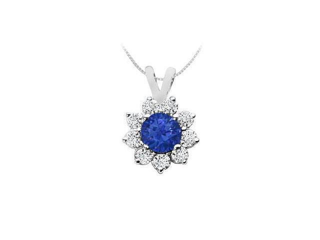 Sapphire and Diamond Pendant  14K White Gold - 0.75 CT TGW