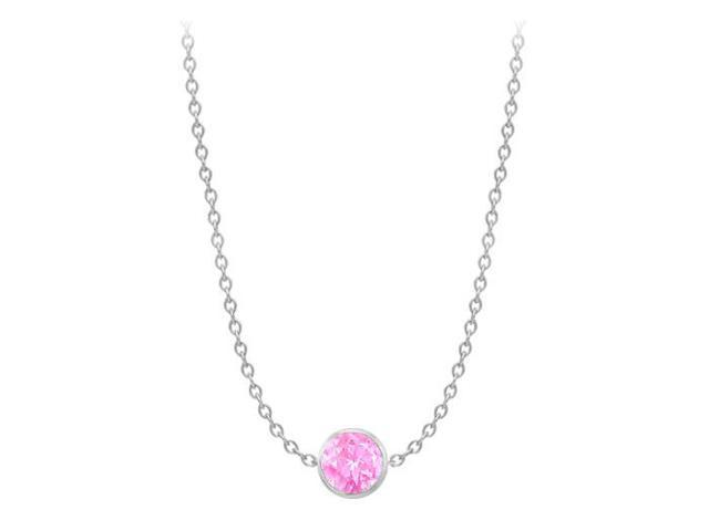 Diamond By The Yard Created Pink Sapphire Necklace on 14K White Gold Bezel Set 2.00 ct.tw