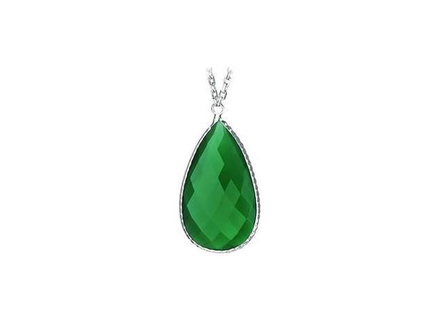 Sterling Silver Pear Shape Green Cubic Zirconia Pendant - April Birthstone Jewelry