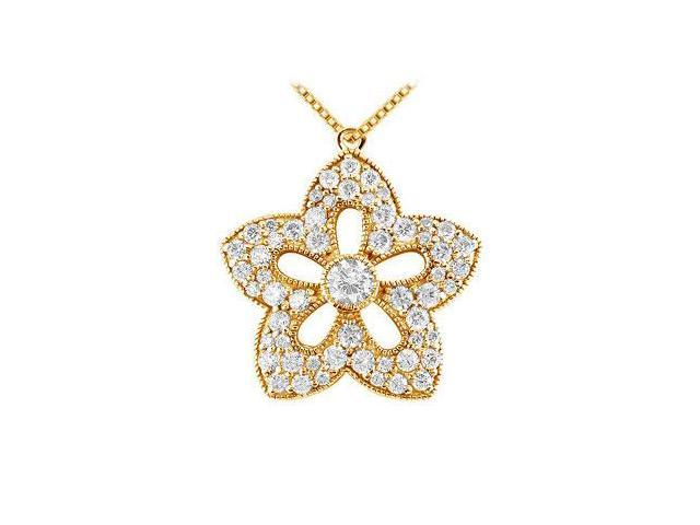Diamond Flower Pendant  14K Yellow Gold - 1.00 CT Diamonds