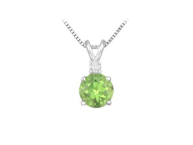 Sterling Silver Peridot and Cubic Zirconia Solitaire Pendant 1.00 CT TGW