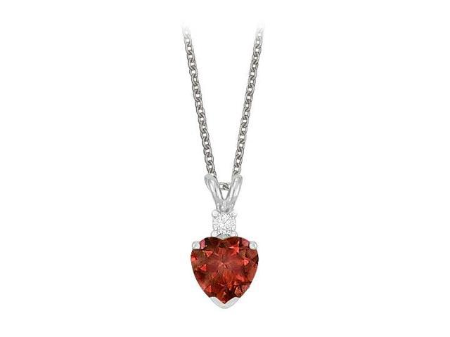 Heart Shaped Garnet and Cubic Zirconia Pendant Necklace in Sterling Silver.1.02ct.tw