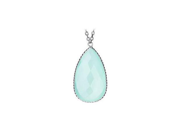 Sterling Silver Pear Shape Aqua Cubic Zirconia Pendant - April Birthstone Jewelry