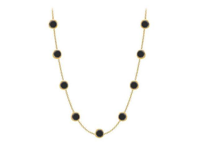 Diamonds By The Yard Necklace in 14K Yellow Gold Bezel Set 1.ct.tw Black Diamonds