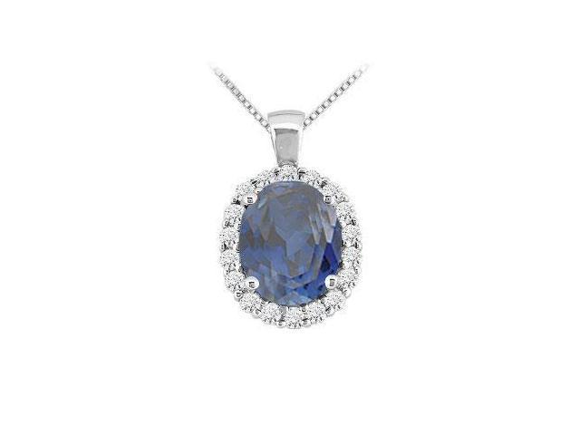 Sapphire and Diamond Pendant  14K White Gold - 3.50 CT TGW