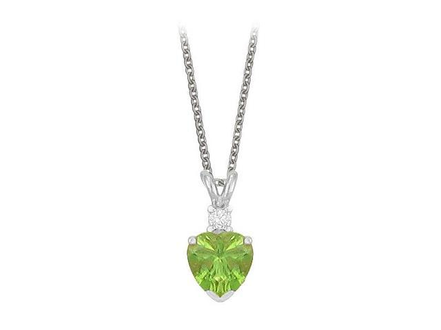 Heart Shaped Peridot and Cubic Zirconia Pendant Necklace in Sterling Silver.1.02ct.tw