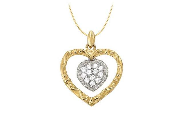 April birthstone Two Tone Double Heart CZ Heart Pendant in Sterling Silver 0.15 CT TGW