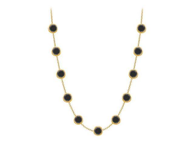 Diamonds by the Yard Necklace in 14K Yellow Gold Bezel Set 2 ct.tw Black Diamonds