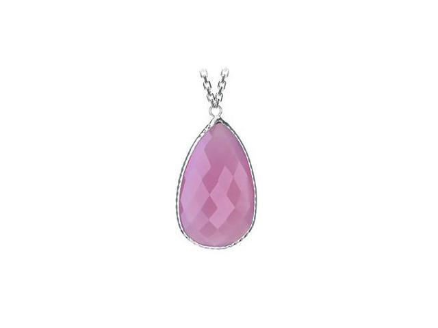 Sterling Silver Pear Shape Pink Cubic Zirconia Pendant - April Birthstone Jewelry
