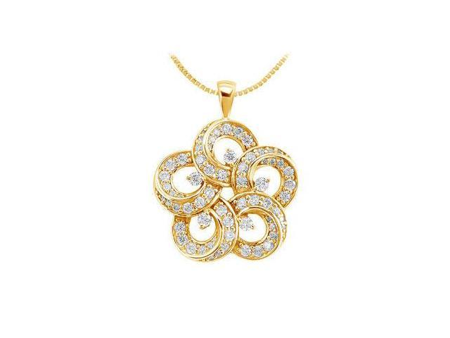 Diamond Flower Pendant  14K Yellow Gold - 0.55 CT Diamonds