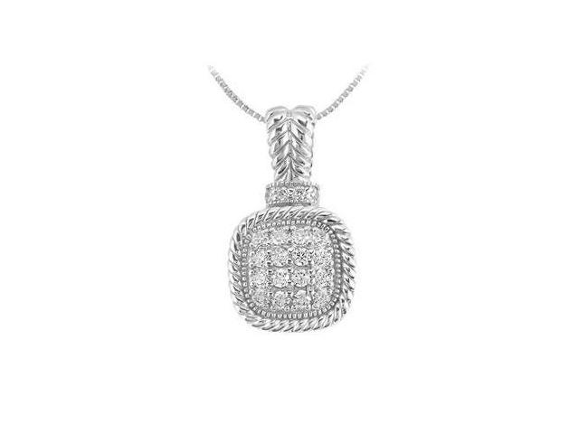Diamond Square Pendant  14K White Gold - 0.50 CT Diamonds