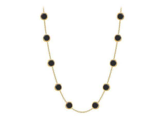 Diamonds by the Yard Necklace in 14K Yellow Gold Bezel Set 3 ct.tw Black Diamonds