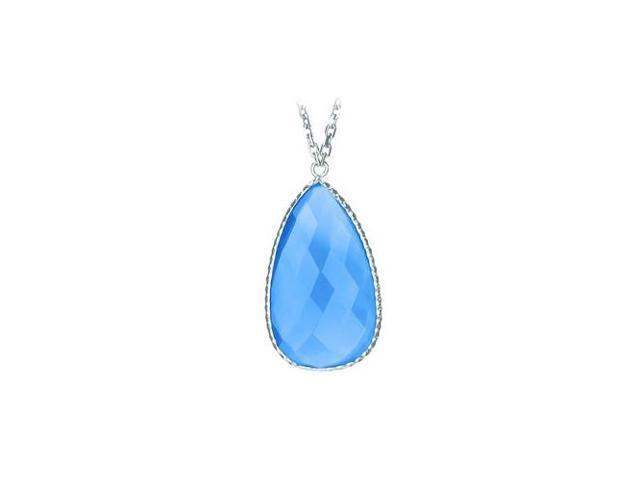 Sterling Silver Pear Shape Blue Cubic Zirconia Pendant - April Birthstone Jewelry