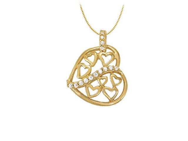 April birthstone CZ Heart Pendant Sterling Silver with Yellow Gold Vermeil 0.20 CT TGW