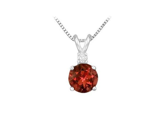 Sterling Silver Garnet and Cubic Zirconia Solitaire Pendant 1.00 CT TGW