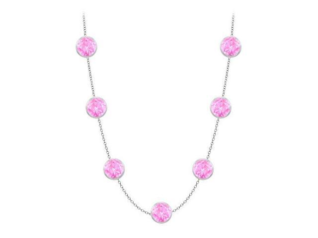 Diamonds By The Yard Created Pink Sapphires Necklace on 14K White Gold Bezel Set 2.00 ct.tw