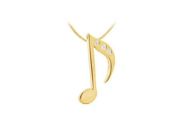 Diamond Music Note Pendant  14K Yellow Gold - 0.02 CT Diamonds