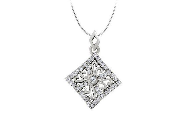 Diamond square shaped pendant in 14K White GoldPerfect Jewelry Gift for Women