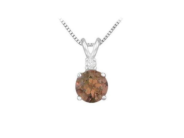 Smoky Topaz and Cubic Zirconia Solitaire Pendant  .925 Sterling Silver 1.00 CT TGW