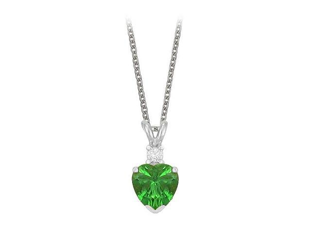 Heart Shaped Created Emerald and Cubic Zirconia Pendant Necklace in Sterling Silver.1.02ct.tw