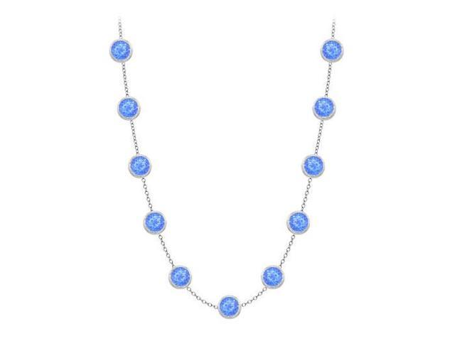 Diamonds By The Yard Blue Diffuse Sapphires Necklace on 14K White Gold Bezel Set 2.00 ct.tw