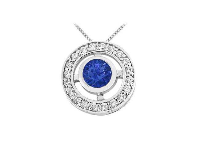 Sapphire and Diamond Circle Pendant  14K White Gold - 0.50 CT TGW