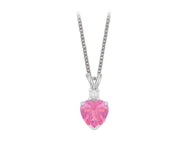 Heart Shaped Created Pink Sapphire and Cubic Zirconia Pendant Necklace in Sterling Silver.1.02ct