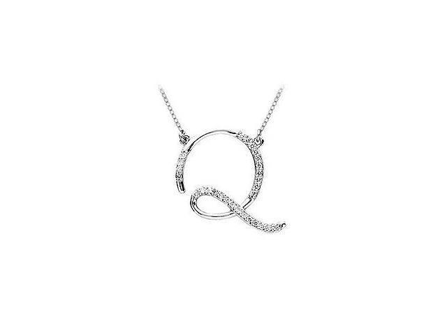 Cubic Zirconia Letter Q Script Initial Pendant  .925 Sterling Silver - 0.10 CT TGW