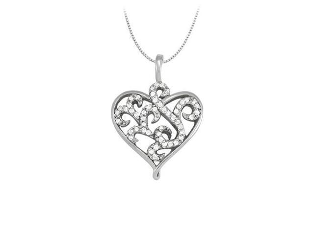 April birthstone Cubic Zirconia Heart Pendant in Sterling Silver 0.25 CT TGW Valentine Day Gift