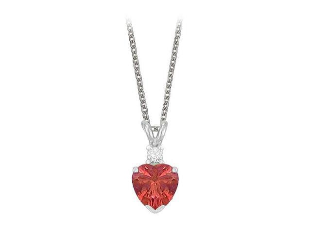 Heart Shaped Created Ruby and Cubic Zirconia Pendant Necklace in Sterling Silver.1.02ct