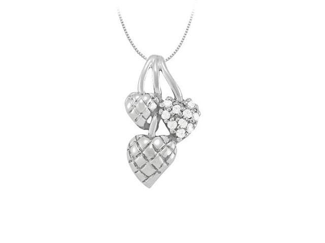 April birthstone Cubic Zirconia Heart Pendant in Sterling Silver 0.10 CT TGW