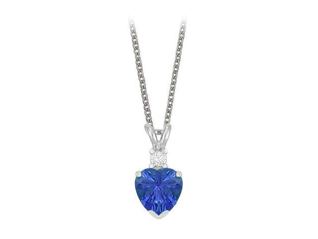 Heart Shaped Created Sapphire and Cubic Zirconia Pendant Necklace in Sterling Silver.1.02ct