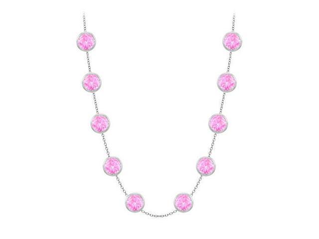 Diamonds By The Yard Created Pink Sapphires Necklace on 14K White Gold Bezel Set 3.00 ct.tw