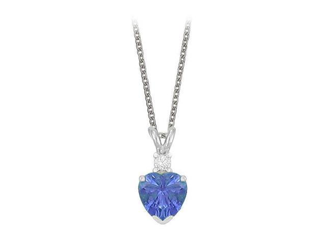 Heart Shaped Created Tanzanite and Cubic Zirconia Pendant Necklace in Sterling Silver.1.02ct