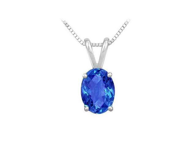 Diffuse Sapphire Solitaire Pendant in Rhodium Treated 925 Sterling Silver 2.00 Carat Total Gem W