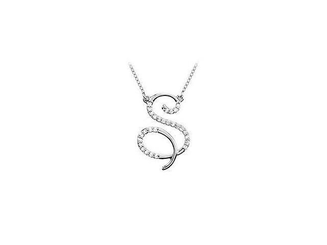 Cubic Zirconia Letter S Script Initial Pendant  .925 Sterling Silver - 0.10 CT TGW