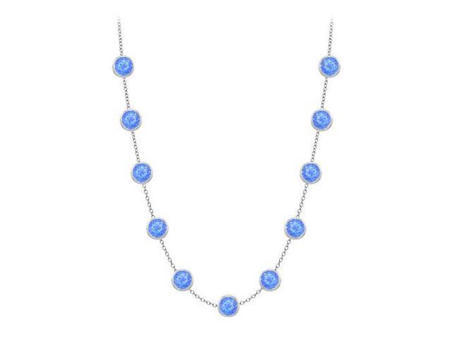 Diamonds By The Yard Blue Diffuse Sapphires Necklace on 14K White Gold Bezel Set 3.00 ct.tw