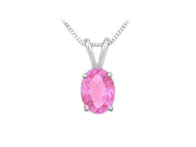Created Pink Sapphire Solitaire Pendant in Rhodium Treated .925 Sterling Silver 2.00 CT TGW
