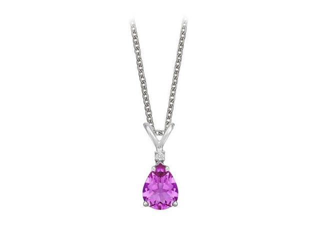 Pear Cut Amethyst and Cubic Zirconia Pendant Necklace in Sterling Silver.1.02ct.tw