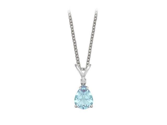 Pear Cut Created Aquamarine and Cubic Zirconia Pendant Necklace in Sterling Silver.1.02ct.tw