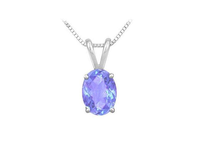 Created Tanzanite Solitaire Pendant in Rhodium Treated .925 Sterling Silver 2.00 CT TGW