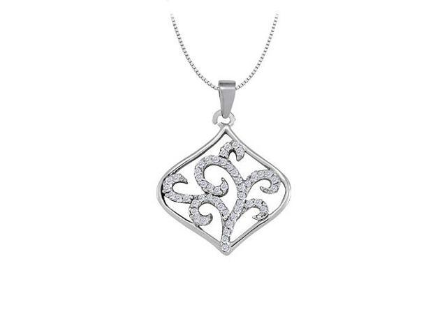 Diamond Square Like Shaped Pendant in 14K White Gold 0.25 CT TDWPerfect Jewelry Gift