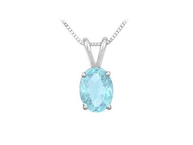 Created Aquamarine Solitaire Pendant in Rhodium Treated .925 Sterling Silver 2.00 CT TGW