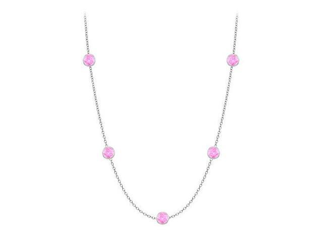 Diamonds By The Yard Created Pink Sapphires Necklace on 14K White Gold Bezel Set 10.00 ct.tw