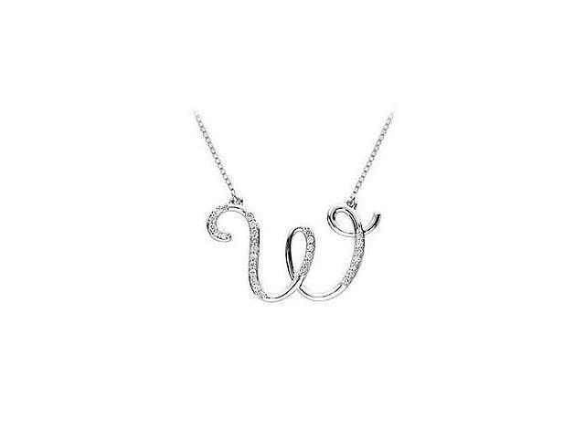 Cubic Zirconia Letter W Script Initial Pendant  .925 Sterling Silver - 0.15 CT TGW