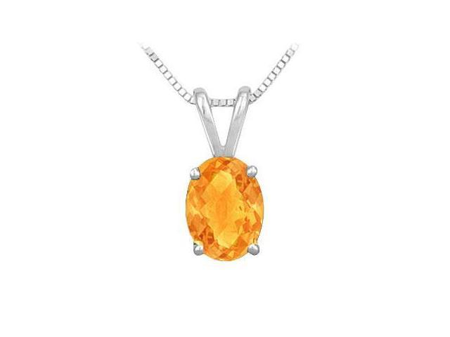 Citrine Solitaire Pendant in Rhodium Treated .925 Sterling Silver 2.00 CT TGW