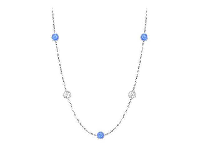 Diamonds By The Yard Blue Diffuse Sapphires and CZs on 14K White Gold Bezel Set 10.00 ct.tw