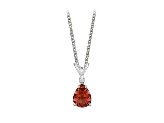 Pear Cut Garnet and Cubic Zirconia Pendant Necklace in Sterling Silver.1.02ct.tw