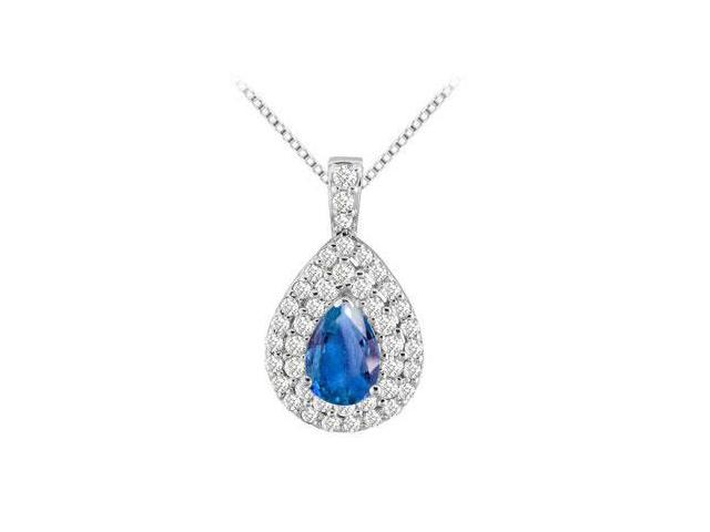 14K White Gold Double Pear Pendant with Cubic Zirconia and Diffuse Sapphire Pear Shape 3.25 Cara